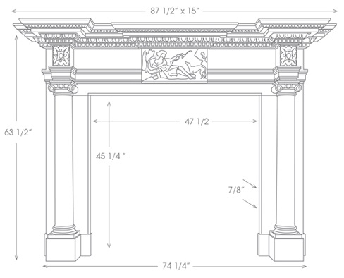 St James Marble Mantel Illustration Diagram