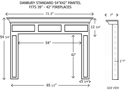 Arts And Crafts Fireplace Mantel Dimension Sketch