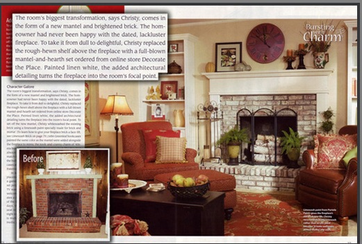Decorating Ideas magazine featuring the Monticello Wood Mantel